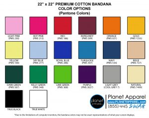 22x22 Premium Bandana Color Options